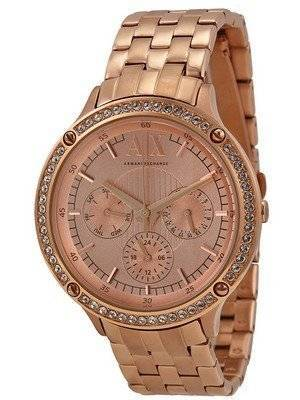 Armani Exchange Rose Gold Dial Crystals AX5406 Ladies Watch