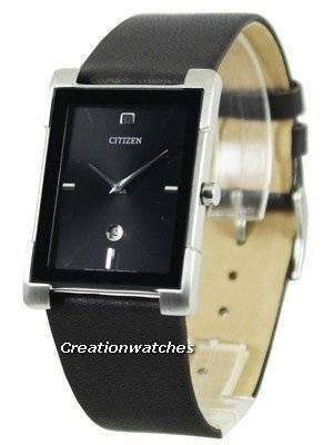 Citizen Quartz Black Dial Leather Strap BG5080-05E Women's Watch