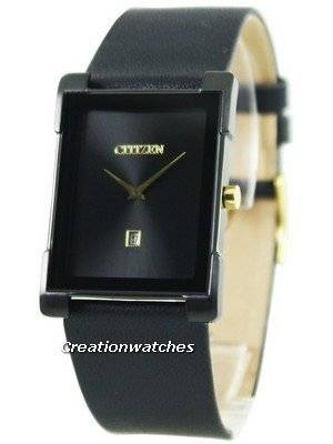 Citizen Quartz Black Leather Black Dial BG5089-19E Men's Watch