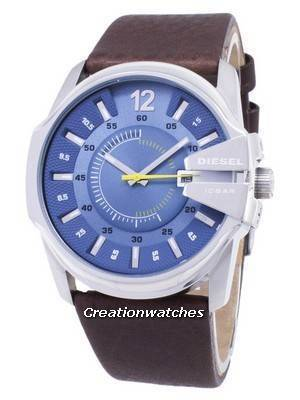 Diesel Mega Chief Quartz Blue Dial Brown Leather DZ1399 Men's Watch
