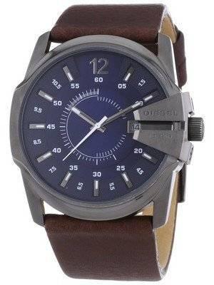 Diesel Master Chief Blue Dial Leather Strap DZ1618 Men's Watch