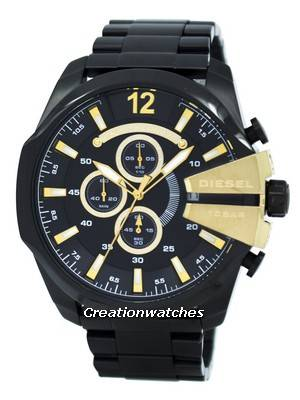 Diesel Mega Chief Quartz Chronograph Black Dial Black IP DZ4338 Men's Watch