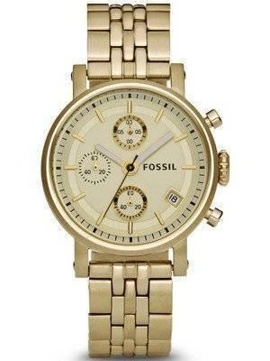 Fossil Boyfriend Chronograph Champagne Dial ES2197 Women's Watch