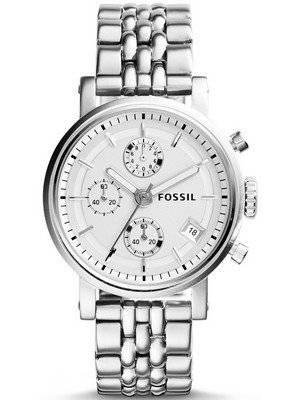 Fossil Boyfriend Chronograph Silver Tone Dial ES2198 Women's Watch