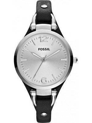 Fossil Georgia Quartz Black Leather Strap ES3199 Women's Watch