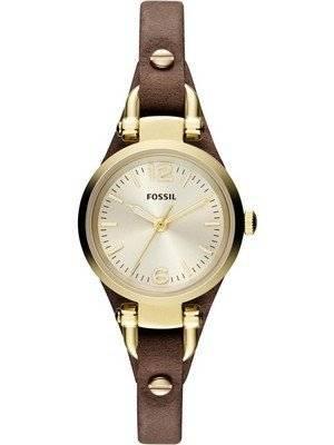 Fossil Georgia Mini Quartz Brown Leather Strap ES3264 Women's Watch