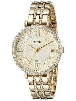 Fossil Jacqueline Champagne Dial Gold-Tone Crystals Embellished ES3547 Women's Watch