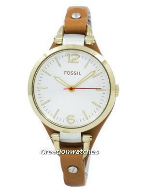Fossil Georgia White Dial Rose Gold Tone Brown Leather Strap ES3565 Women's Watch