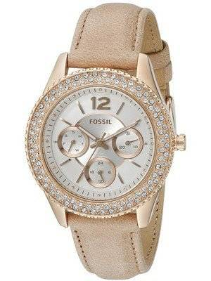 Fossil Stella Multifunction Rose Gold Leather Strap Crystals Embellished ES3816 Women's Watch