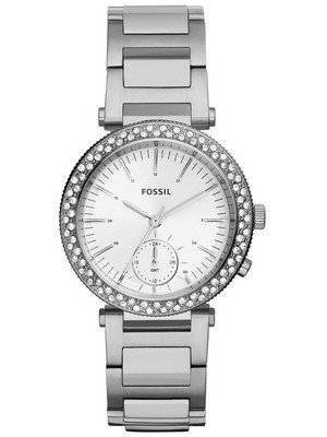 Fossil Urban Traveler Multifunction Silver Dial Crystals Embellished ES3849 Women's Watch