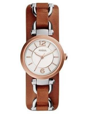 Fossil Georgia Artisan White Dial Brown Leather ES3855 Women's Watch