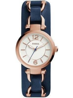 Fossil Georgia Artisan White Dial Navy Blue Leather ES3857 Women's Watch
