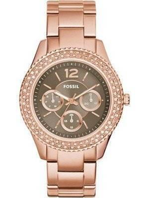 Fossil Stella Taupe Dial Crystals Multifunction Rose Gold-Tone ES3863 Women's Watch
