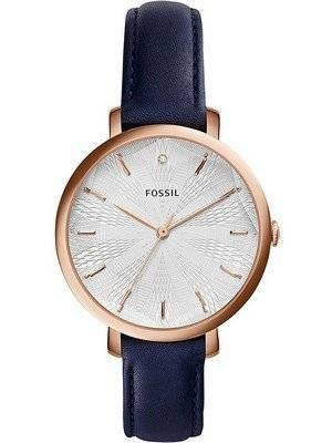 Fossil Incandesa Navy Blue Leather Strap Diamond Accent ES3864 Women's Watch