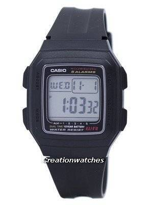 Casio Digital 5 Alarms Dual Time Illuminator F-201WA-1ADF F201WA-1ADF Men's Watch