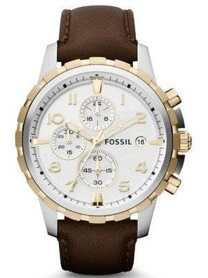 Fossil Dean Chronograph Two-Tone Brown Leather Strap FS4788 Men's Watch