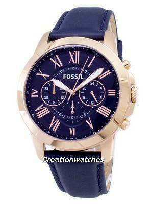 Fossil Grant Chronograph Blue Leather Strap FS4835 Men's Watch