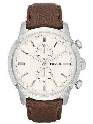 Fossil Townsman Quartz Chronograph White Dial Brown Leather FS4865 Men's Watch