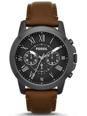 Fossil Grant Chronograph Brown Leather Strap FS4885 Men's Watch