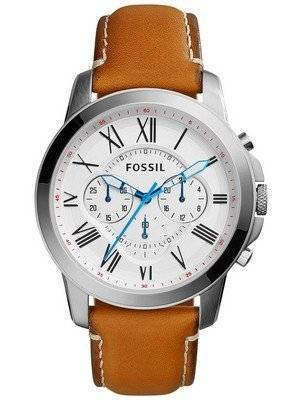 Fossil Grant Quartz Chronograph White Dial Tan Leather FS5060 Men's Watch