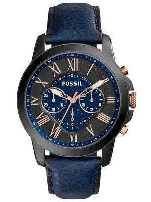 Fossil Grant Chronograph Black and Blue Dial Blue Leather FS5061 Men's Watch