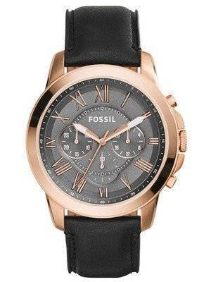 Fossil Grant Chronograph Grey Dial Black Leather FS5085 Men's Watch