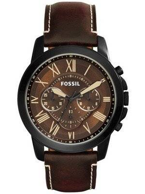 Fossil Grant Chronograph Brown Dial Brown Leather FS5088 Men's Watch