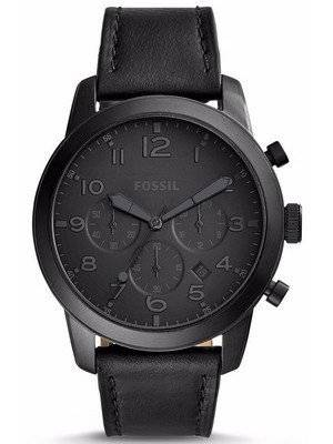 Fossil Pilot 54 Chronograph Quartz Black Leather Strap FS5157 Men's Watch