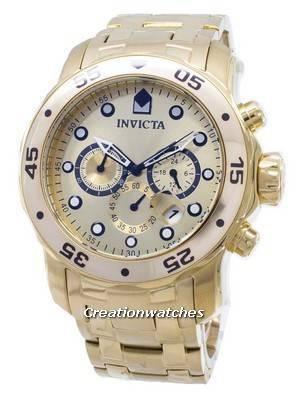 Invicta Pro-Diver Chronograph Gold Dial 0074 Men's Watch