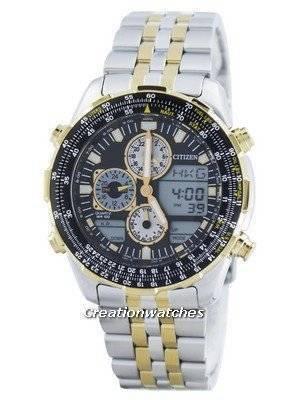 Citizen Navihawk Pilot Style Quartz Chronograph Analog Digital World Time JN0124-84E Men's Watch
