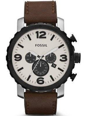 Fossil Nate Chronograph Brown Leather JR1390 Men's Watch