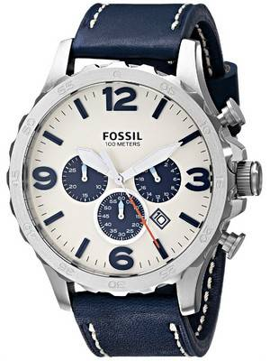 Fossil Nate Chronograph Quartz Navy Blue Leather JR1480 Men's Watch