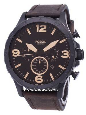 Fossil Nate Chronograph Brown Leather JR1487 Men's Watch