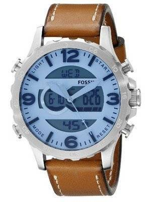Fossil Nate Analog-Digital Quartz Brown Leather Strap JR1492 Men's Watch