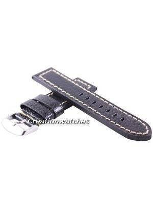Black Ratio Brand Leather Strap 22mm For SKX007, SKX009, SKX011, SRP497, SRP641