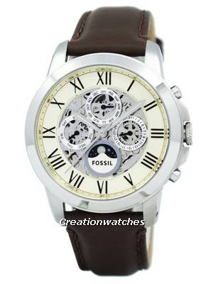 Fossil Grant Automatic White Skeleton Dial Brown Leather ME3027 Men's Watch