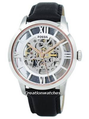 Fossil Townsman Automatic Skeleton Dial Black Leather ME3041 Men's Watch