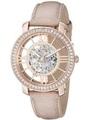 Fossil Curiosity Automatic Skeleton Crystals Dial Beige Leather ME3060 Women's Watch