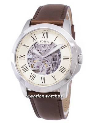 Fossil Grant Automatic Beige Skeleton Dial ME3099 Men's Watch