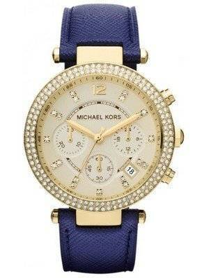 Michael Kors Chronograph Parker Navy Leather Strap MK2280 Women's Watch