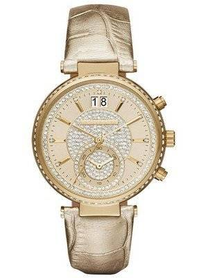 Michael Kors Sawyer Champagne Crystal Pave Dial MK2444 Women's Watch