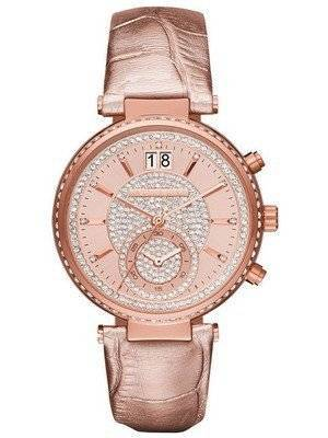 Michael Kors Sawyer Rose Gold Crystal Pave Dial MK2445 Women's Watch