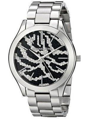 Michael Kors Runway Zebra Pattern Crystal Pave Dial MK3314 Women's Watch