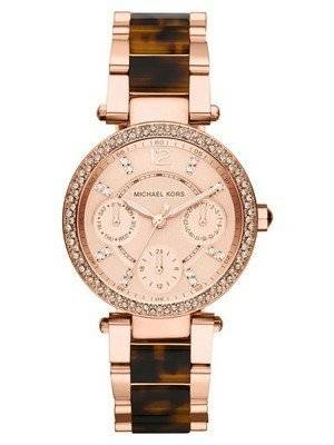 Michael Kors Rose Gold Tortoise-shell Crystals MK5841 Women's Watch