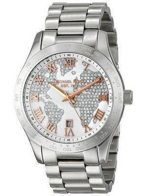Michael Kors Layton Engraved Map Crystal Pave Dial MK5958 Women's Watch