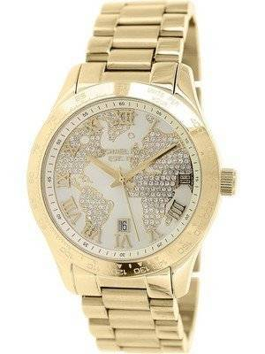 Michael Kors Layton Engraved Map Crystal Pave Dial MK5959 Women's Watch