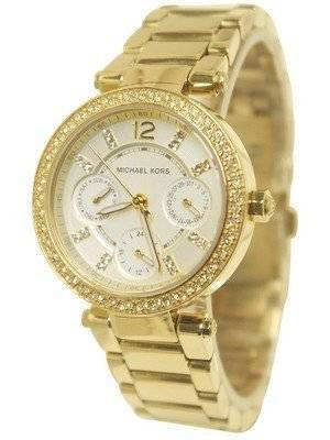 Michael Kors Mini Parker Champagne Glitz Dial Crystals MK6056 Women's Watch
