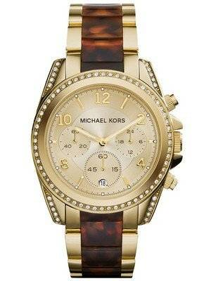 Michael Kors Blair Chronograph Champagne Dial Crystals MK6094 Women's Watch