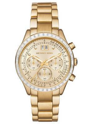Michael Kors Brinkley Chronograph Gold Tone Crystals MK6187 Women's Watch