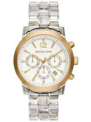 Michael Kors Audrina Chronograph Clear Acetate Bracelet MK6200 Women's Watch
